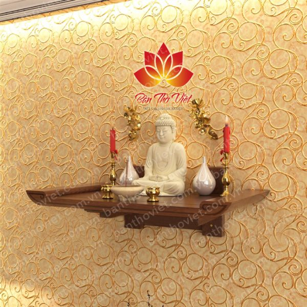 Bàn thờ treo tường gỗ Pơ Mu vân đẹp - Giá rẻ nhất với nhiều kích thước