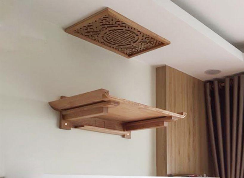 Bàn thờ treo tường chung cư đặt gắn cố định trên tường